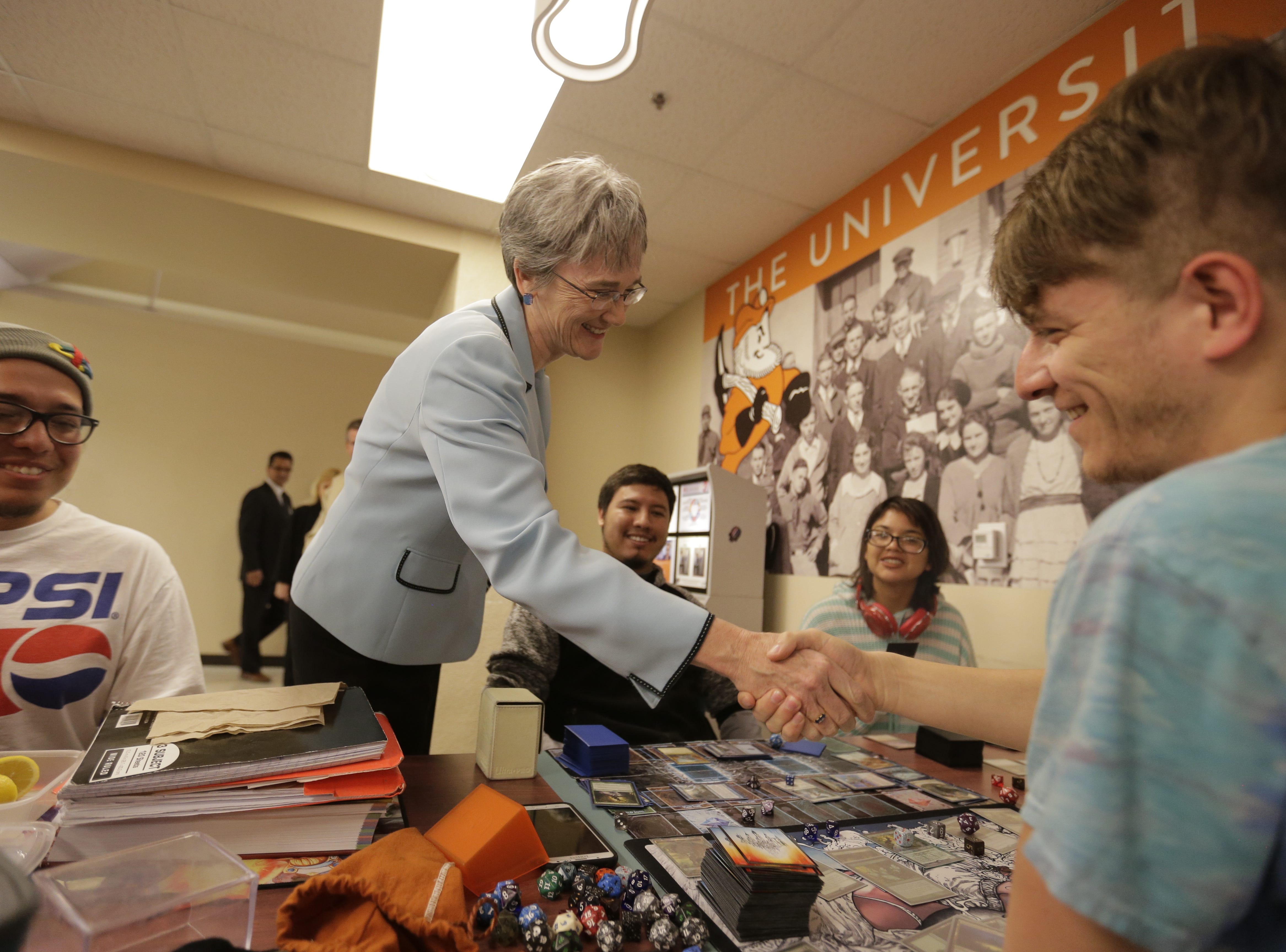 Heather Wilson, expected be UTEP's next president, visits students at the campus union building. Left to right: Cruz Moreno, Heather Wilson, Gustavo Cordero, Leslie Bustos and Eliseo Pulido.