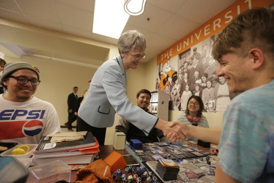 Heather Wilson, sole finalist for UTEP president, visits students March 11 at the campus student union building. Left to right: Cruz Moreno, Wilson, Gustavo Cordero, Leslie Bustos and Eliseo Pulido.