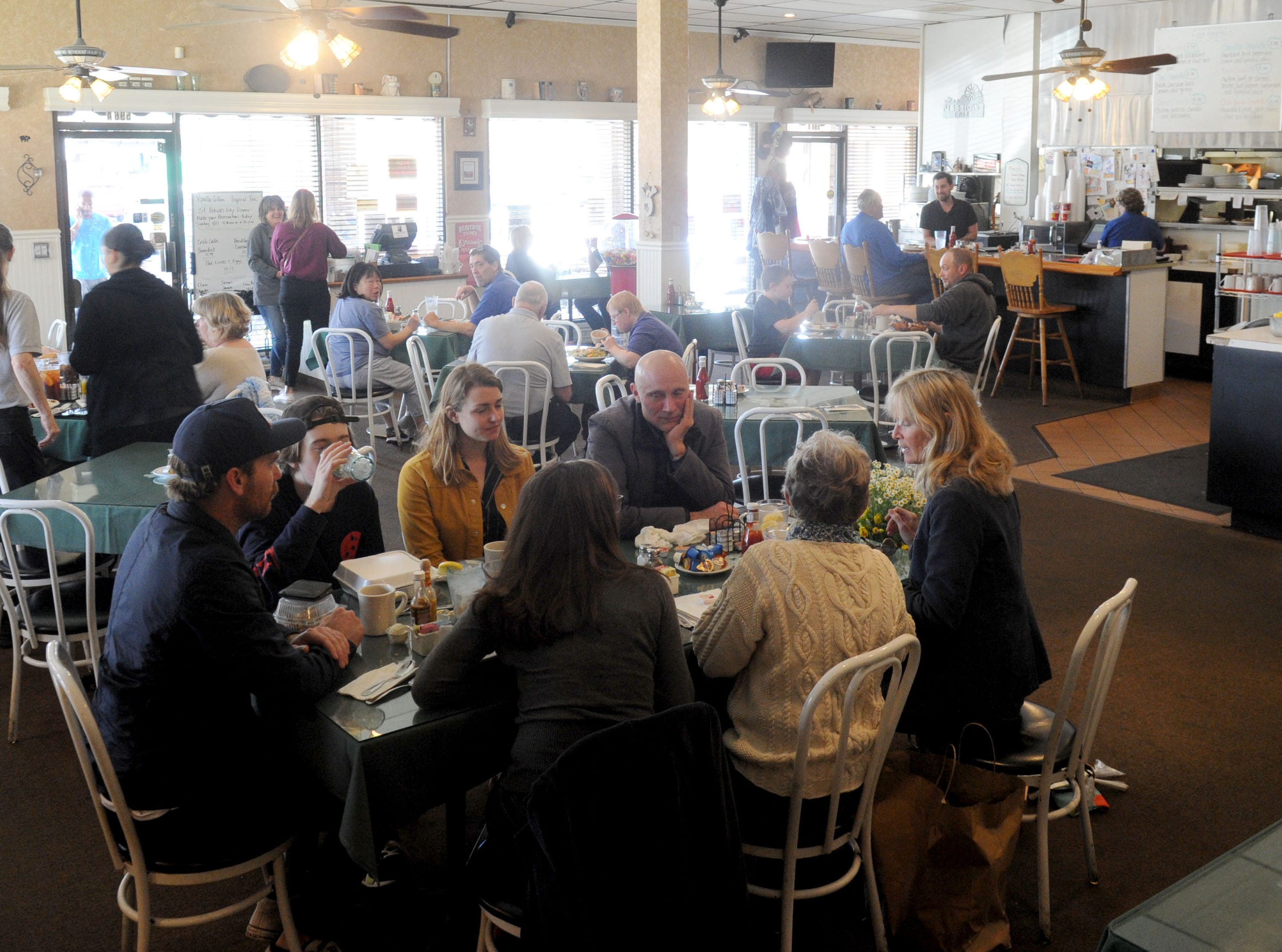 A large group of people gather for  breakfast at Jessica's Cafe in Camarillo.