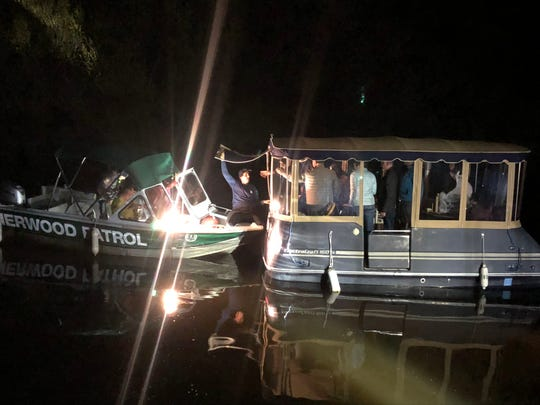 Ventura County Fire Department crews performed a rescue on Lake Sherwood Sunday night after a boat out for a sunset cruise ran into a sandbar, officials said.