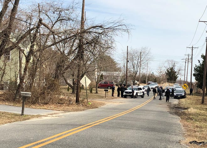 Police investigate a reported shooting along New Peach Street in Vineland. March 11, 2019.