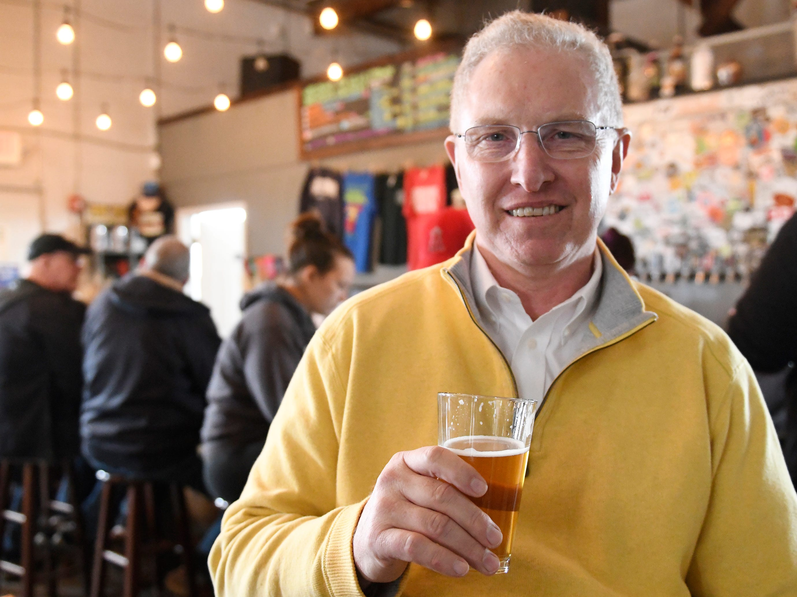 Roy Johnson, past president of the Master Brewers Association and Vineland native, visits the Glasstown Brewing Company in Millville on Friday, March 8, 2019.