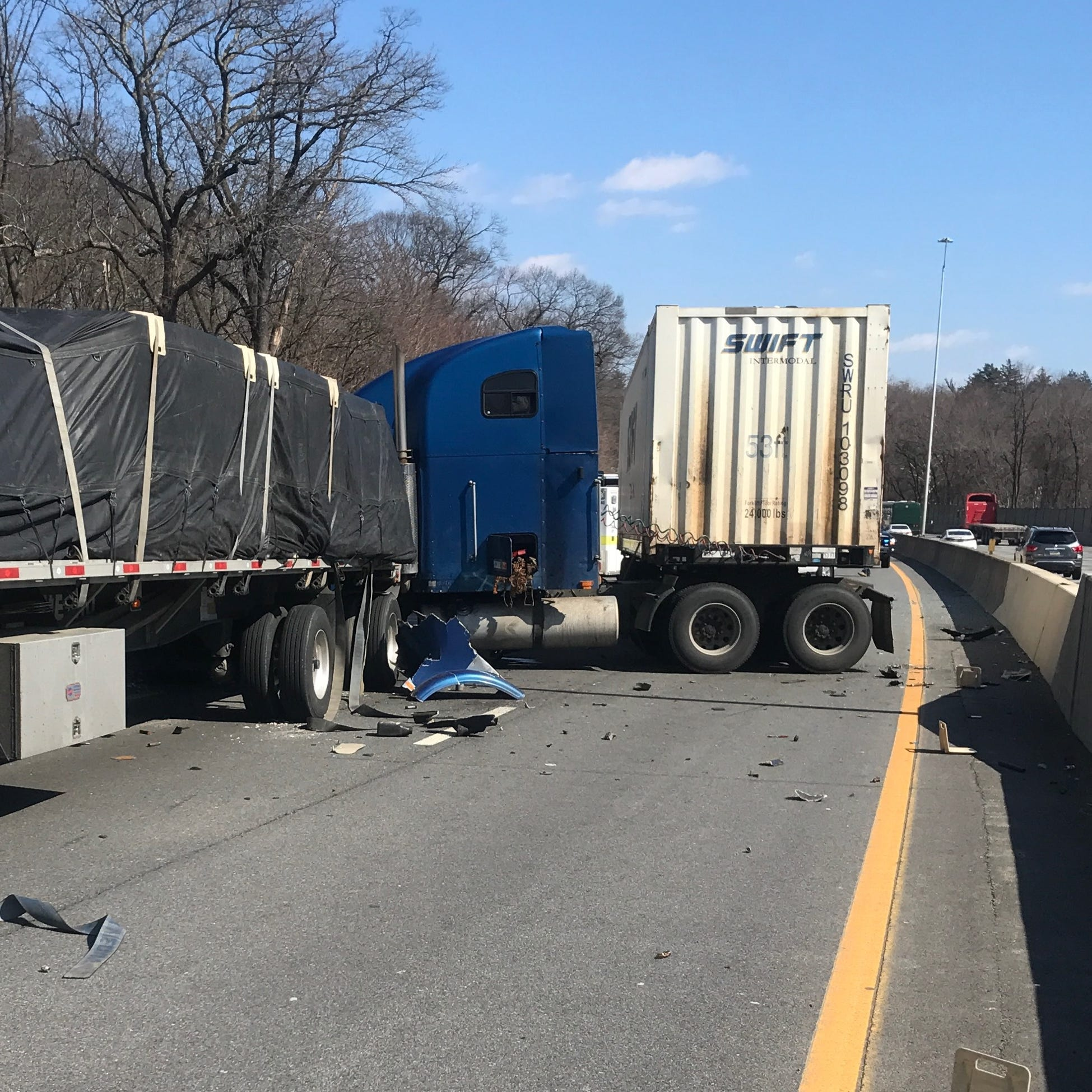 Tractor-trailer crash backs up Interstate 95 southbound for nearly two hours