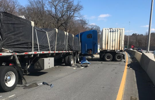 A jackknifed tractor-trailer was involved in a crash that closed Interstate 95 southbound in Mamaroneck on March 11, 2019.