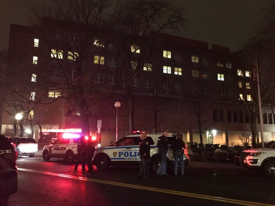 The scene outside New York-Presbyterian Lawrence Hospital in Bronxville Sunday night.