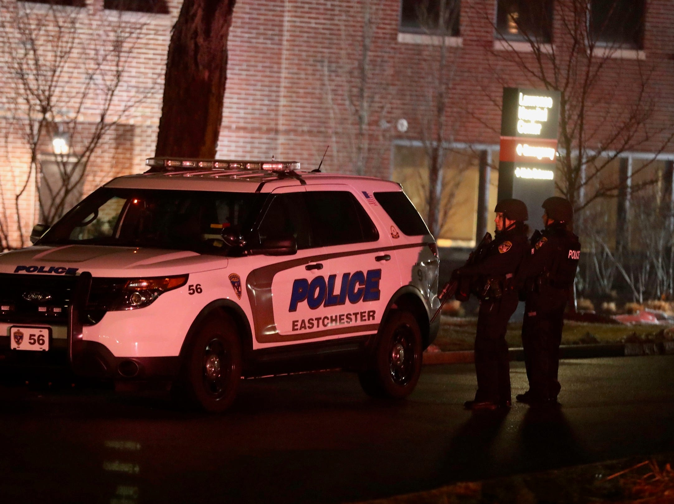 Heavy police presence remains all around New York-Presbyterian Lawrence Hospital in Bronxville as police search for a gunman inside the hospital Sunday night.