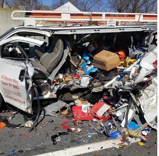 A van was ripped open in a crash that involved a tractor-trailer on Interstate 95 southbound in Mamaroneck on March 11, 2019.
