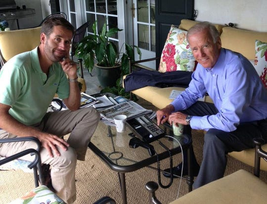 Beau Biden posted this photo with his father, Vice President Joe Biden, on Twitter on Sunday, August 18, 2013.
