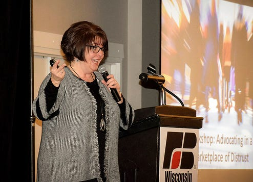 Donna Moenning from the Center for Food Integrity, shared data on how farmers can best engage people on food and farming topics during the Ag LEAD Summit in Appleton on March 8 and 9, 2019.