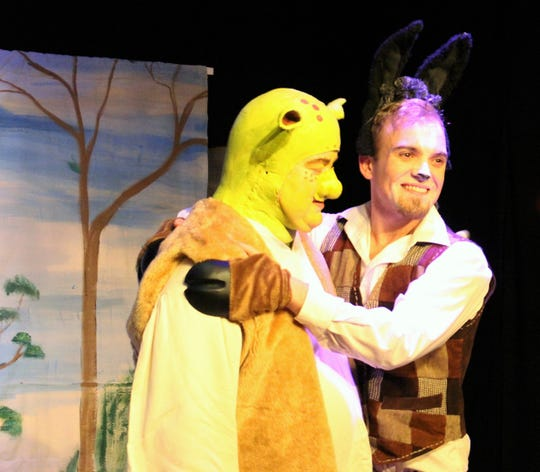 "Steve Hendershott plays Shrek and Blake Nessleroad is Donkey in ""Shrek the Musical"" opening at the Renner Theater March 15."