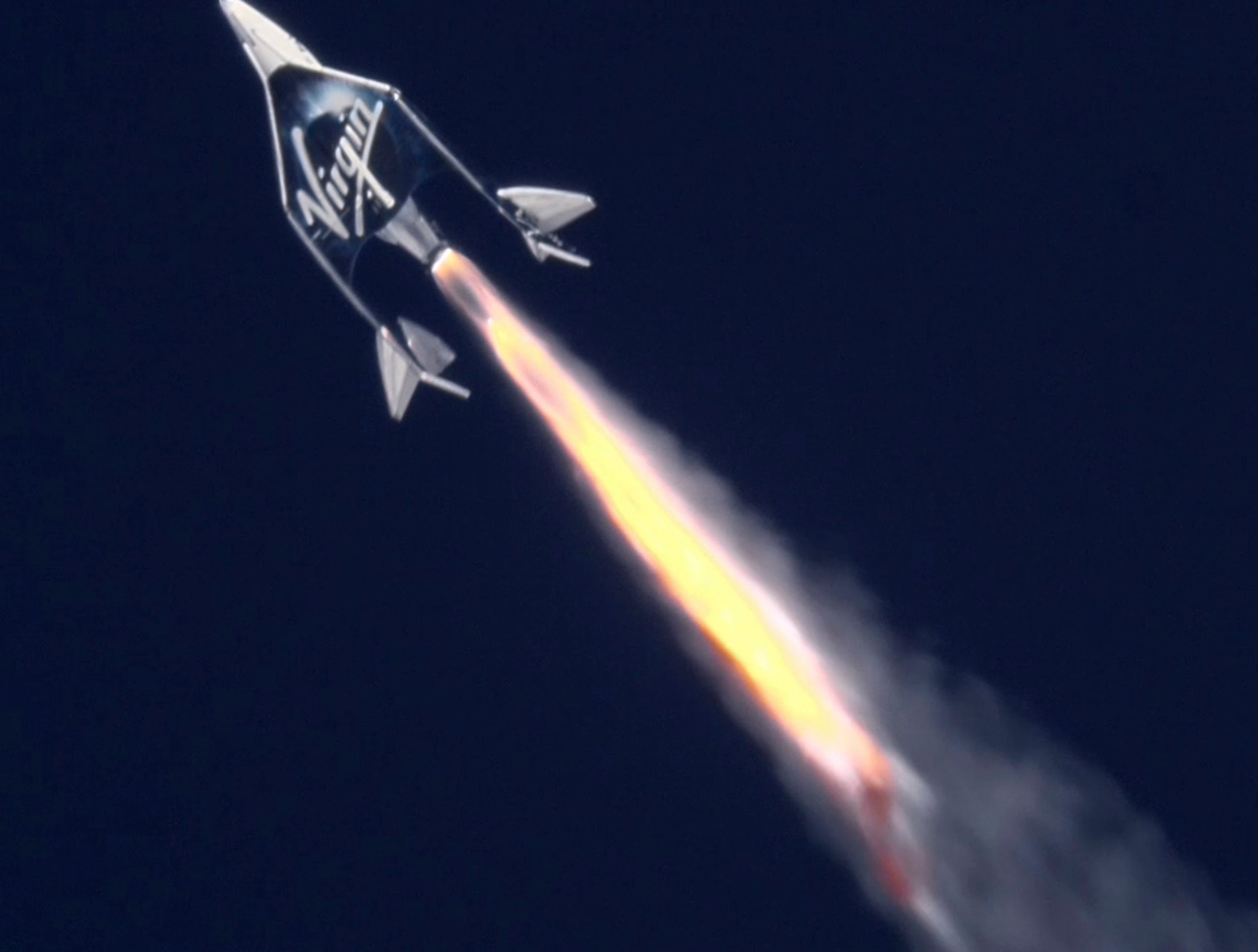 This is the Virgin Galactic spaceship VSS Unityafter release from the WhiteKnightToo launch vehicle as it heads towards spaced over Mojave, Calif.  Feb. 33, 2019. According to the company the vehicle made its second successful space flight with three astronauts aboard as the hybrid rocket motor propelled the spaceship at Mach 3.04 to an apogee of 55.87 miles above the earth.