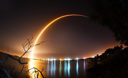 "This is a 155 second time exposure of the SpaceX Falcon 9 rocket launching from Cape Canaveral Air Force Station's Launch Complex 40, Feb. 21, 2019.  The rocket is carrying an Indonesian Nusantara Satu communications satellite and a secondary payload, the SpaceIL and Israel Aerospace Industries lunar lander named Beresheet, or ""in the beginning"" in Hebrew. That lander will will take about two months to reach lunar orbit before attempting to touch down on the moon."