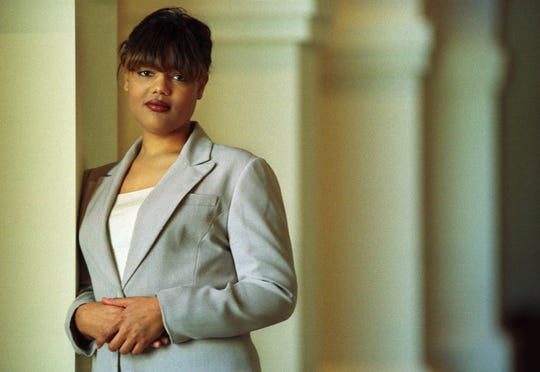 Freeda Foreman stands in The Regent Las Vegas Hotel and Casino in Las Vegas on Thursday, Feb. 10, 2000 following a press conference announcing her professional boxing debut.