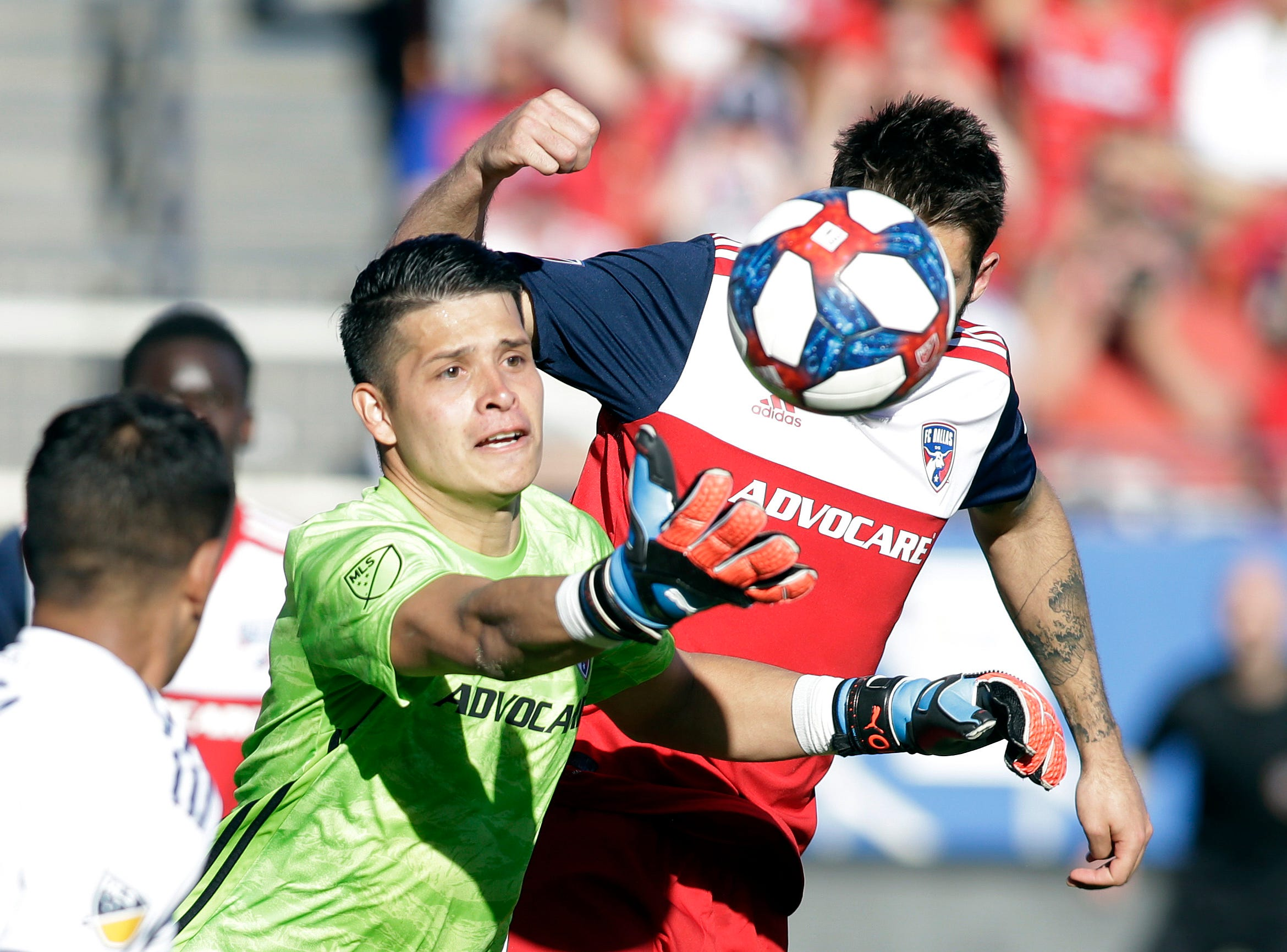 March 9: FC Dallas goalkeeper Jesse Gonzalez (1) grabs the ball in the first half against the Los Angeles Galaxy at Toyota Stadium.