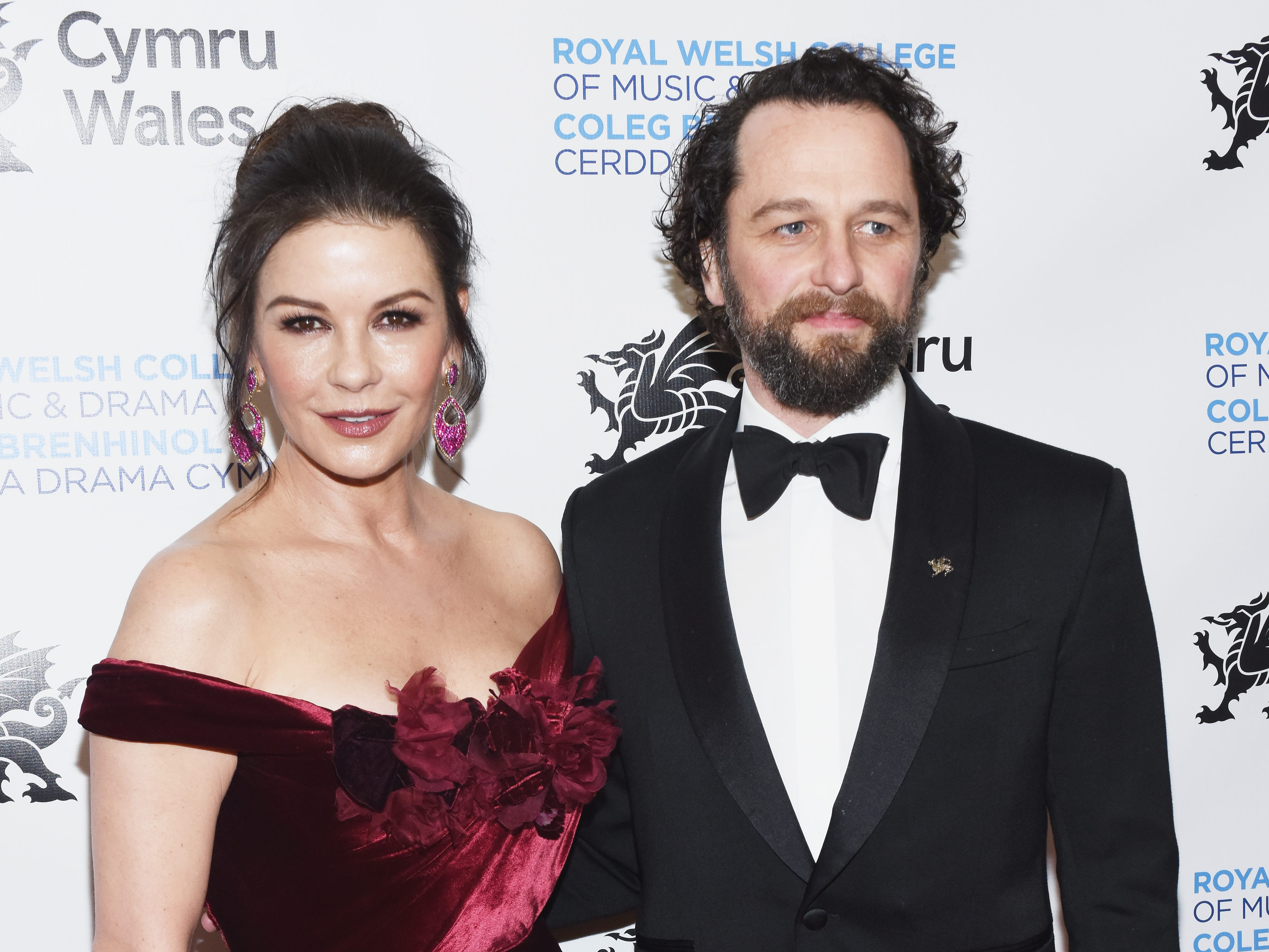 "Catherine Zeta-Jones and ""The Americans"" star Matthew Rhys represent their homeland of Wales at the the Royal Welsh College of Music & Drama 2019 Gala, held March 1, 2019, in New York."