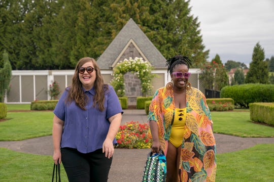 "Annie (Aidy Bryant) and Fran (Lolly Adefope) in ""Shrill."""