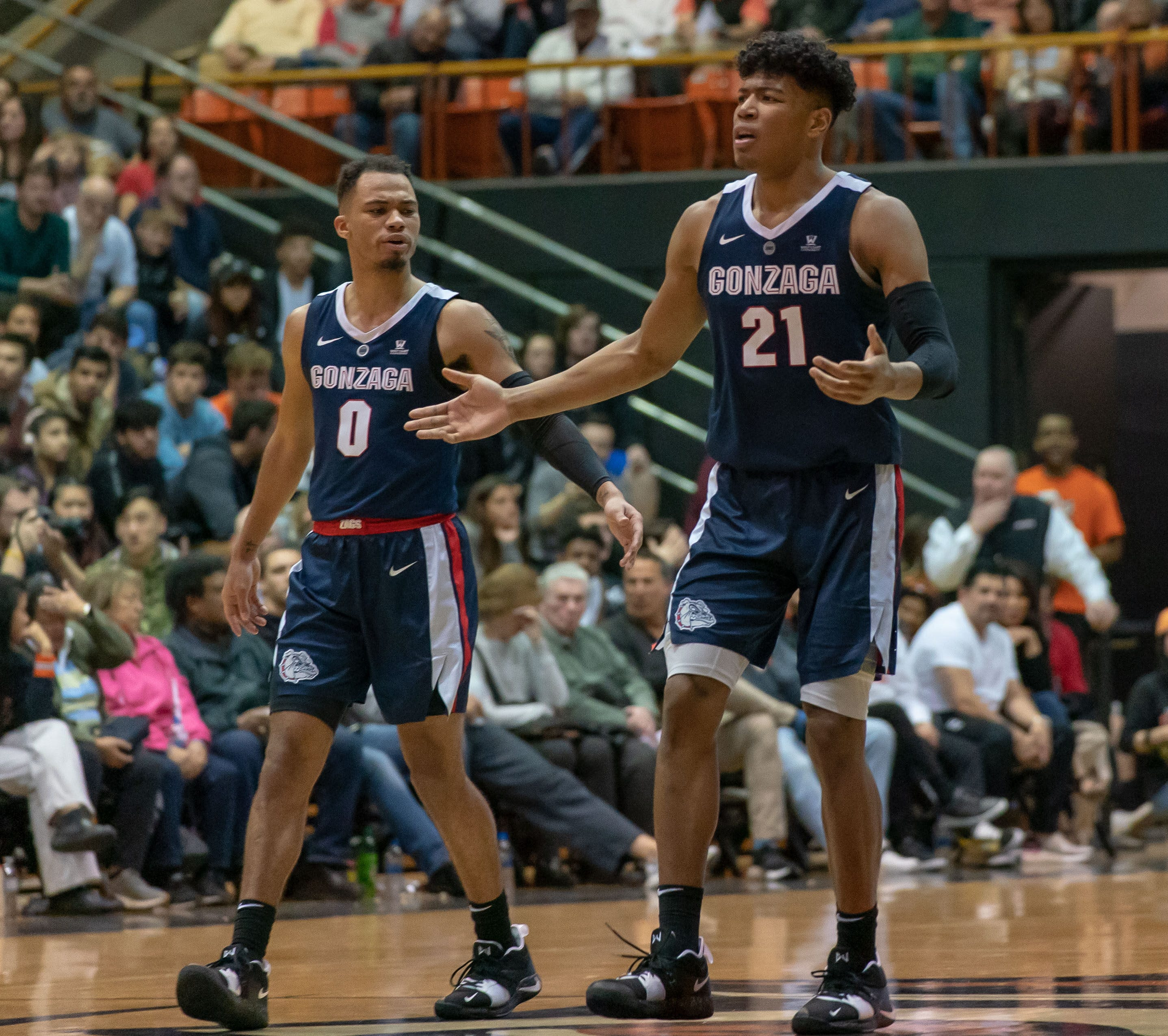 Gonzaga forward Rui Hachimura (21) questions the referee during the second half against Pacific.