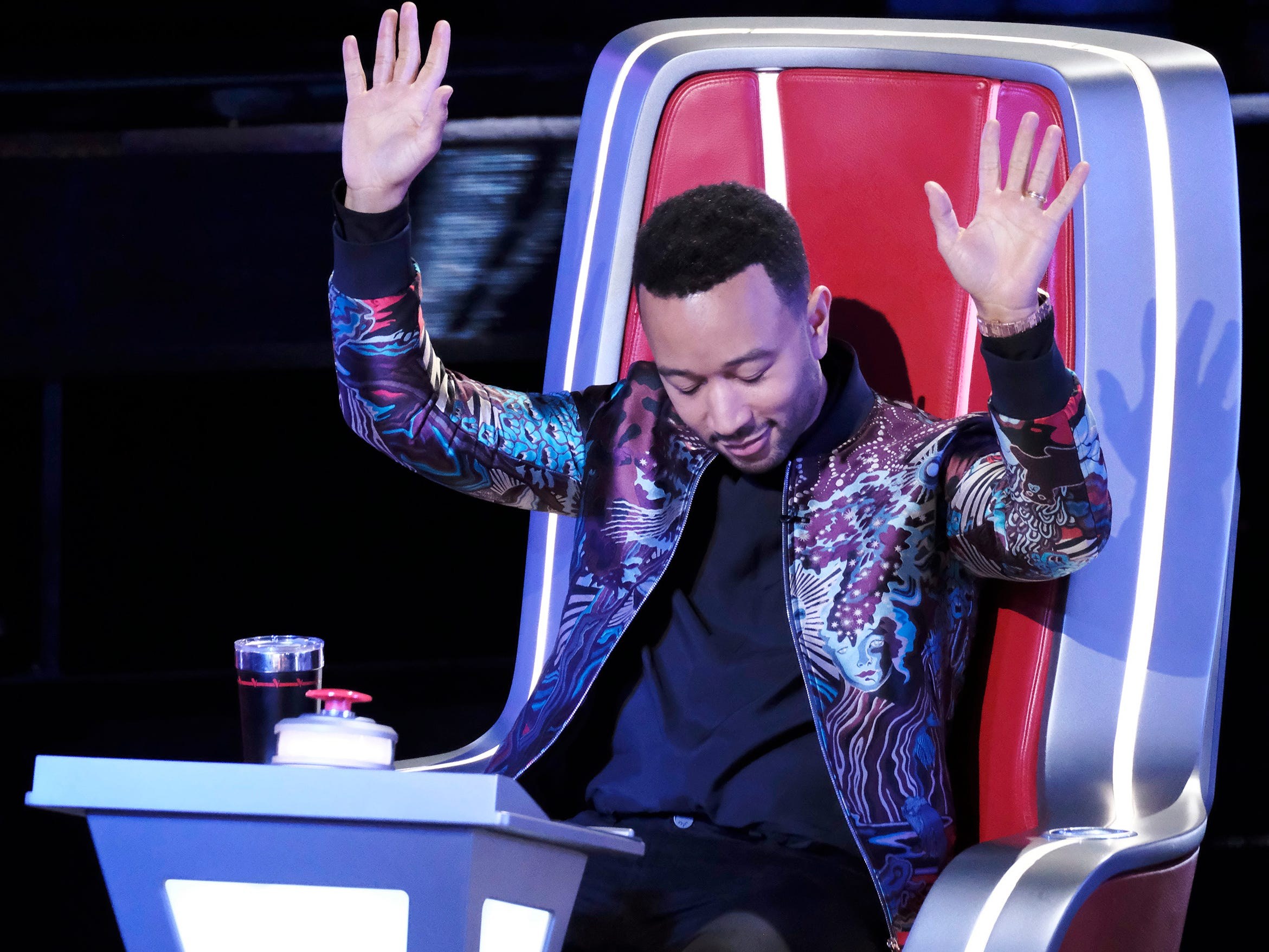 "John Legend,  EGOT recipient and the newest ""Voice"" judge, lets the other coaches know he's not one to be trifled with during the blind audition rounds in the March 4, 2019, episode."