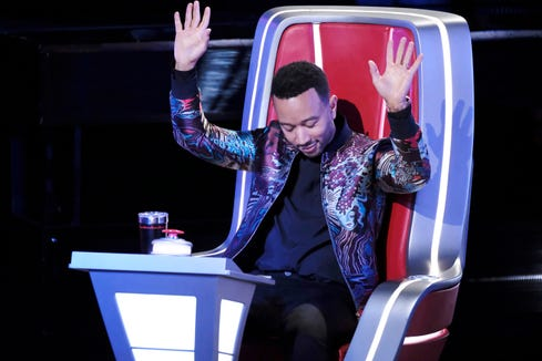 """John Legend,  EGOT recipient and the newest """"Voice"""" judge, lets the other coaches know he's not one to be trifled with during the blind audition rounds in the March 4, 2019, episode."""