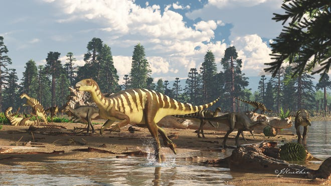 This is an artist's impression of what a Galleonosaurus dorisae herd might have looked like about 125 million years ago.