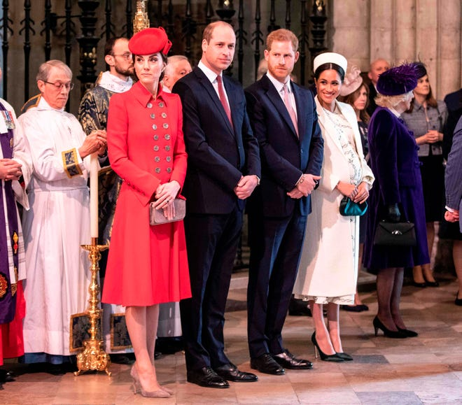Duchess Kate of Cambridge, Prince William, Prince Harry, and Duchess Meghan of Sussex at the Commonwealth Day service at Westminster Abbey in London on March 11, 2019.