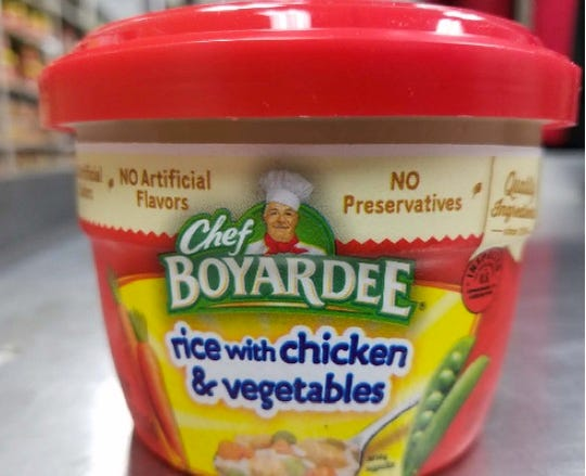 This Chef Boyardee  rice with chicken & vegetable has been recalled.