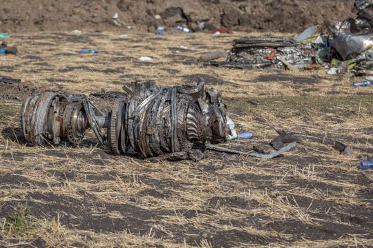 Airplane parts at the scene of an Ethiopian Airlines flight crash near Bishoftu, south of Addis Adaba, Ethiopia, on March 11, 2019.
