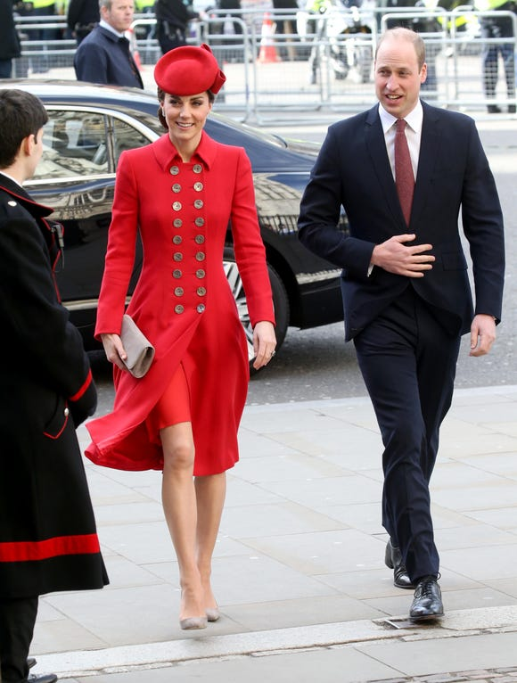 Prince William and Duchess Kate of Cambridge attend the Commonwealth Service on Commonwealth Day at Westminster Abbey on March 11, 2019 in London.