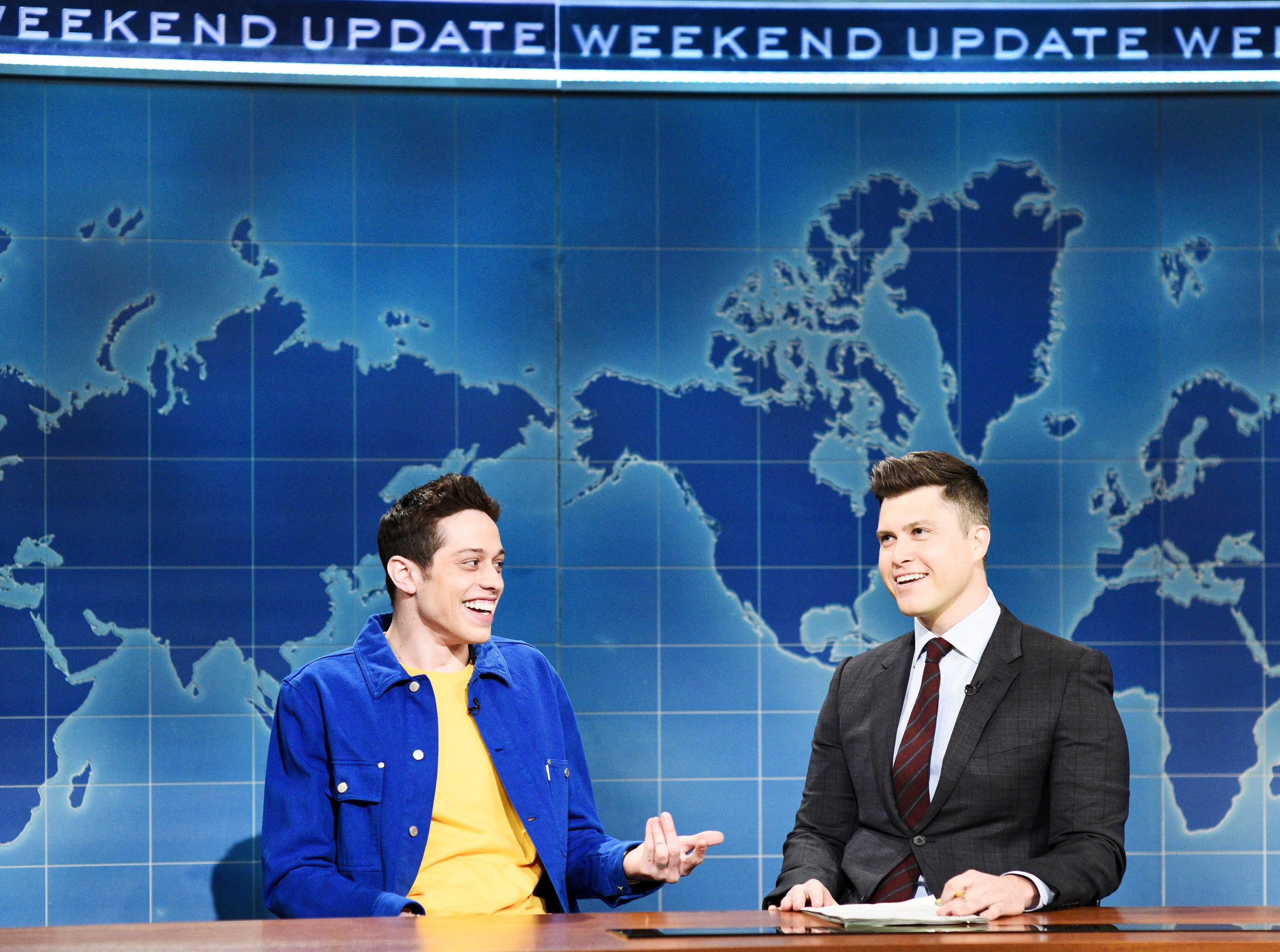 "Pete Davidson also appeared on ""Weekend Update"" with Colin Jost to address rumors about him dating actress Kate Beckinsale and the age difference between them. ""It doesn't really bother us,"" he said. ""But then again, I'm new to this, so if you have questions about relationships with a big age difference, just ask Leonardo DiCaprio, Jason Statham, Michael Douglas, Richard Gere ..."" and on and on, including three references to Larry King."
