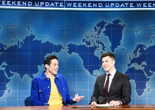 """Pete Davidson also appeared on """"Weekend Update"""" with Colin Jost to address rumors about him dating actress Kate Beckinsale and the age difference between them. """"It doesn't really bother us,"""" he said. """"But then again, I'm new to this, so if you have questions about relationships with a big age difference, just ask Leonardo DiCaprio, Jason Statham, Michael Douglas, Richard Gere ..."""" and on and on, including three references to Larry King."""