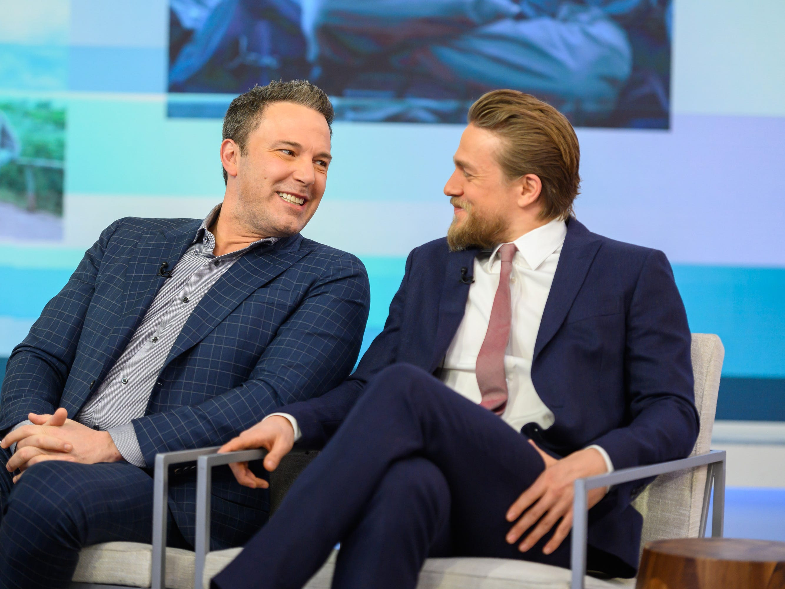 "Ben Affleck laughs with ""Triple Frontier"" co-star Charlie Hunnam during a visit to NBC's ""Today"" on March 4, 2019."