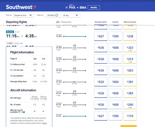 Southwest Airlines customers can click on flight numbers when they book to see what type of plane is expected to fly their flights.