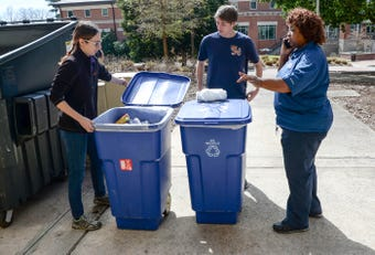 Clemson recycle team studying student recycle habits