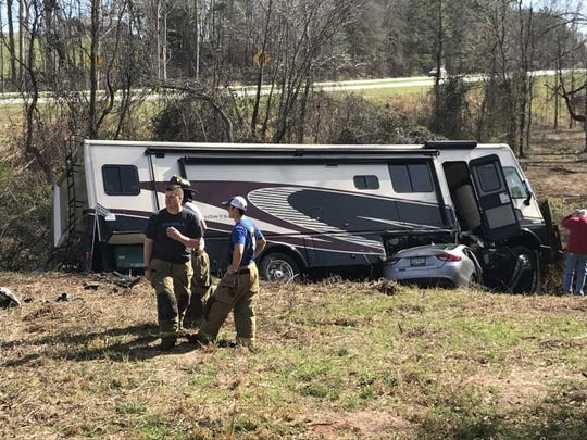Firefighters from Whitefield fire station respond to a crash Tuesday involving a recreational vehicle and a sedan. Both drivers survived.