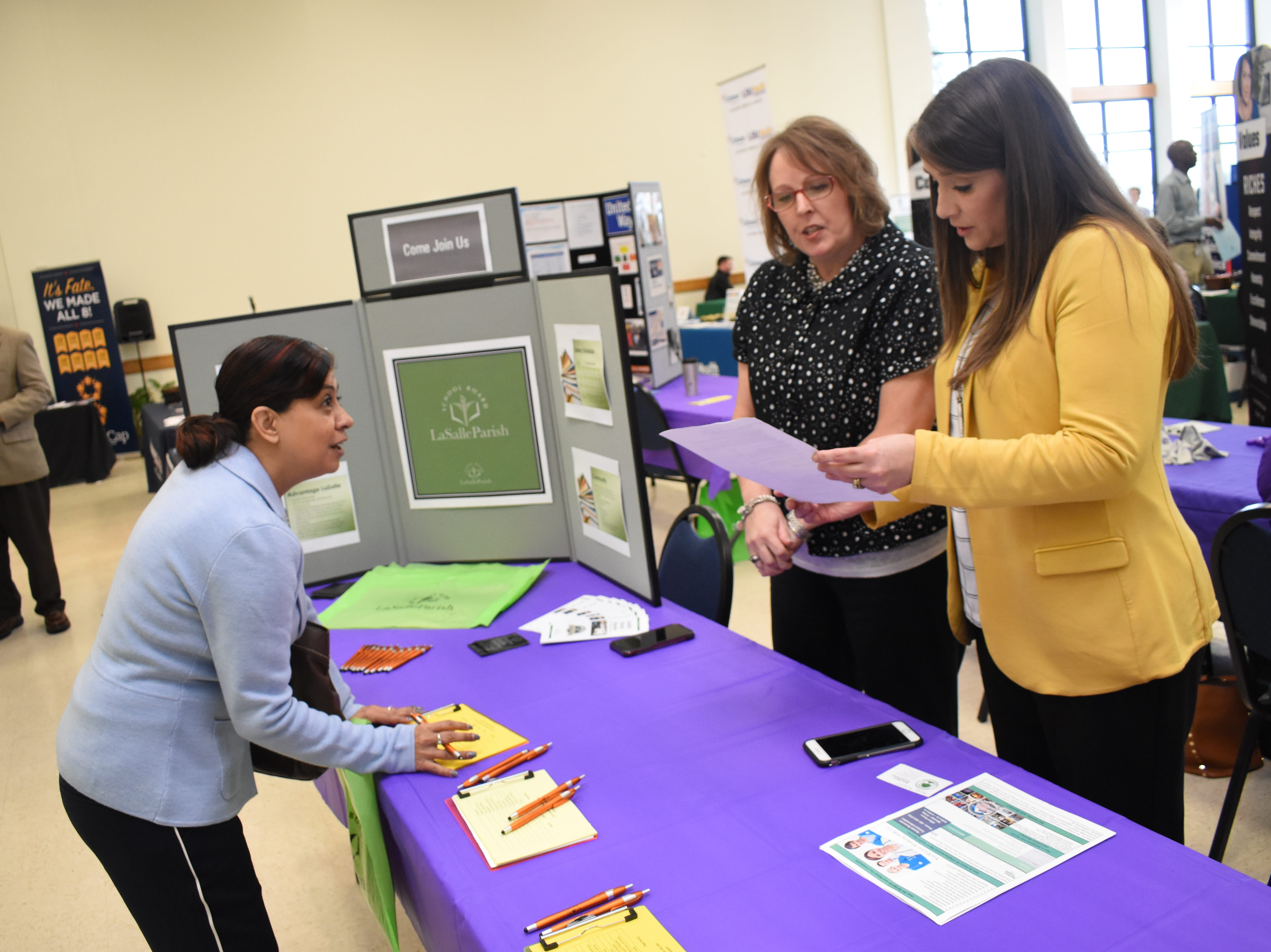 LSUA hosted their Spring Career Fair Tuesday, March 12, 2019 on the LSUA campus. About 40 businesses such as those involved in education, health care, non-profits and law enforcement were on hand to talk to students and others about job opportunities.