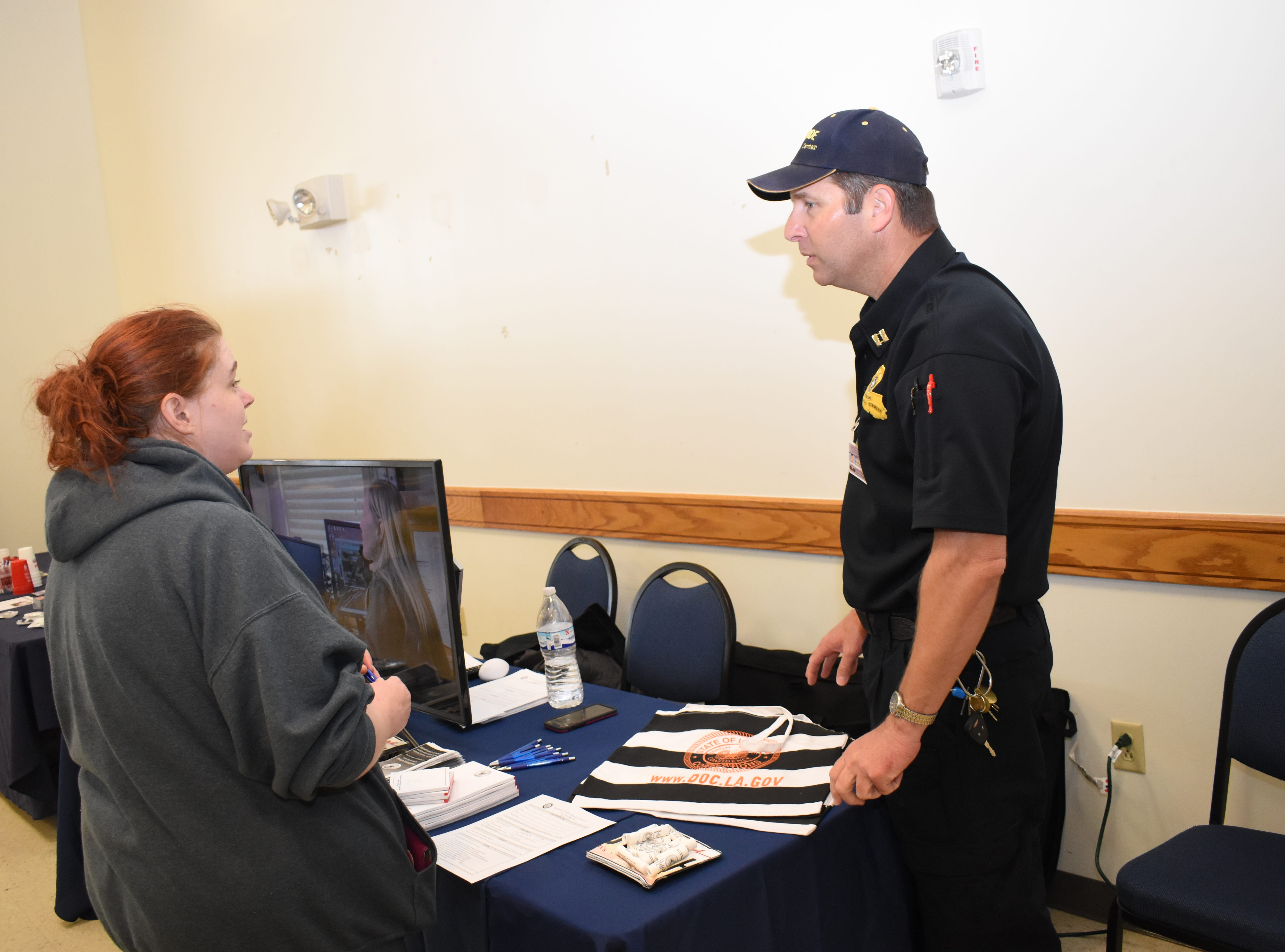 Chad Firmin (right), with the Department of Corrections, talks with Miranda Camp at the Spring Career Fair held Tuesday, March 12, 2019 on the LSUA campus. About 40 businesses such as those involved in education, health care, non-profits and law enforcement were on hand to talk to students and others about job opportunities.