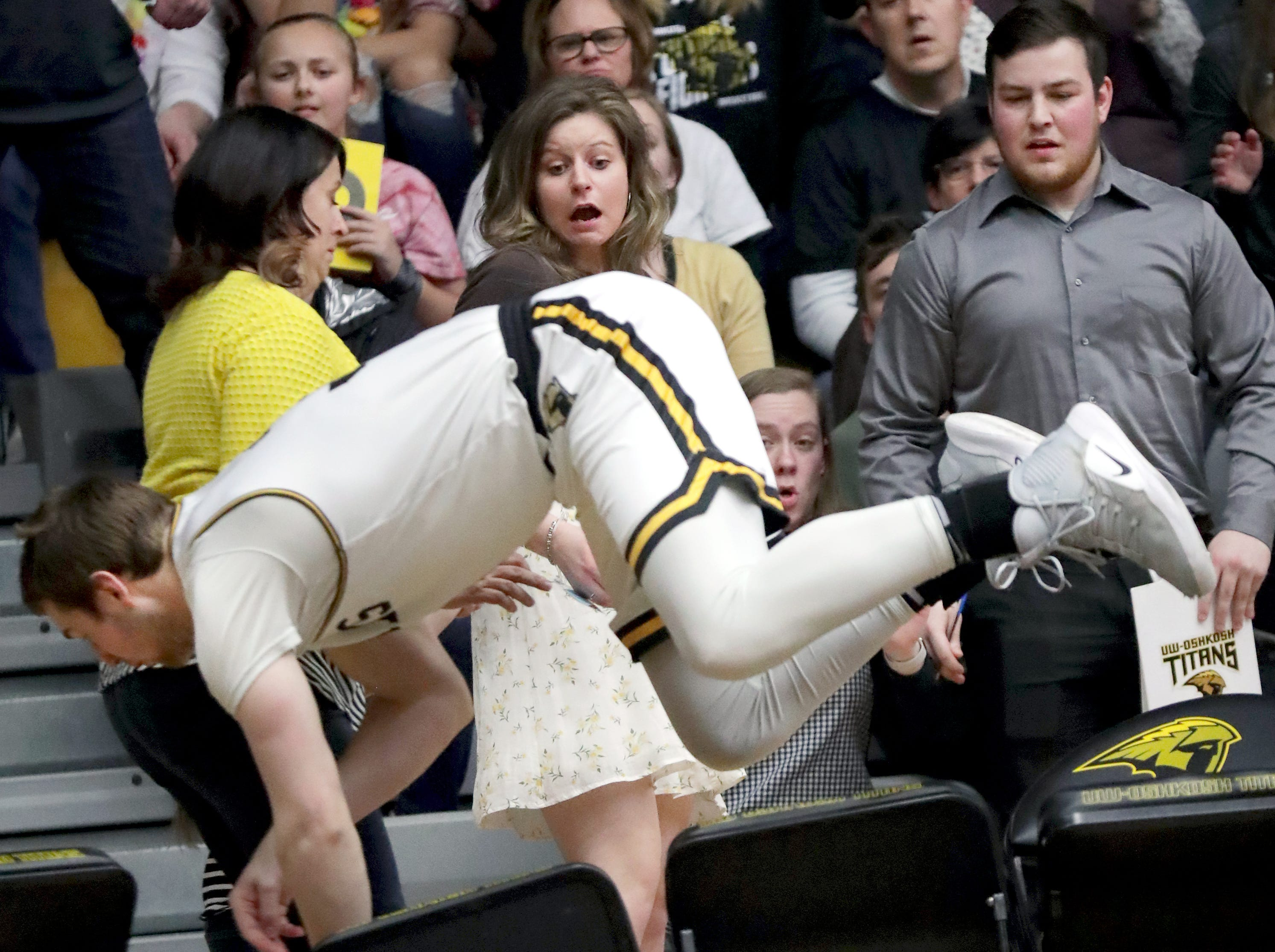 University of Wisconsin-Oshkosh's #3 chase a ball out of bounds against Loras College-Iowa during their NCAA DIII  Basketball Championship sectional game on Friday, March 8, 2019, at the Kolf Sports Center in Oshkosh, Wis. Oshkosh defeated Loras 86 to 75.Wm. Glasheen/USA TODAY NETWORK-Wisconsin.