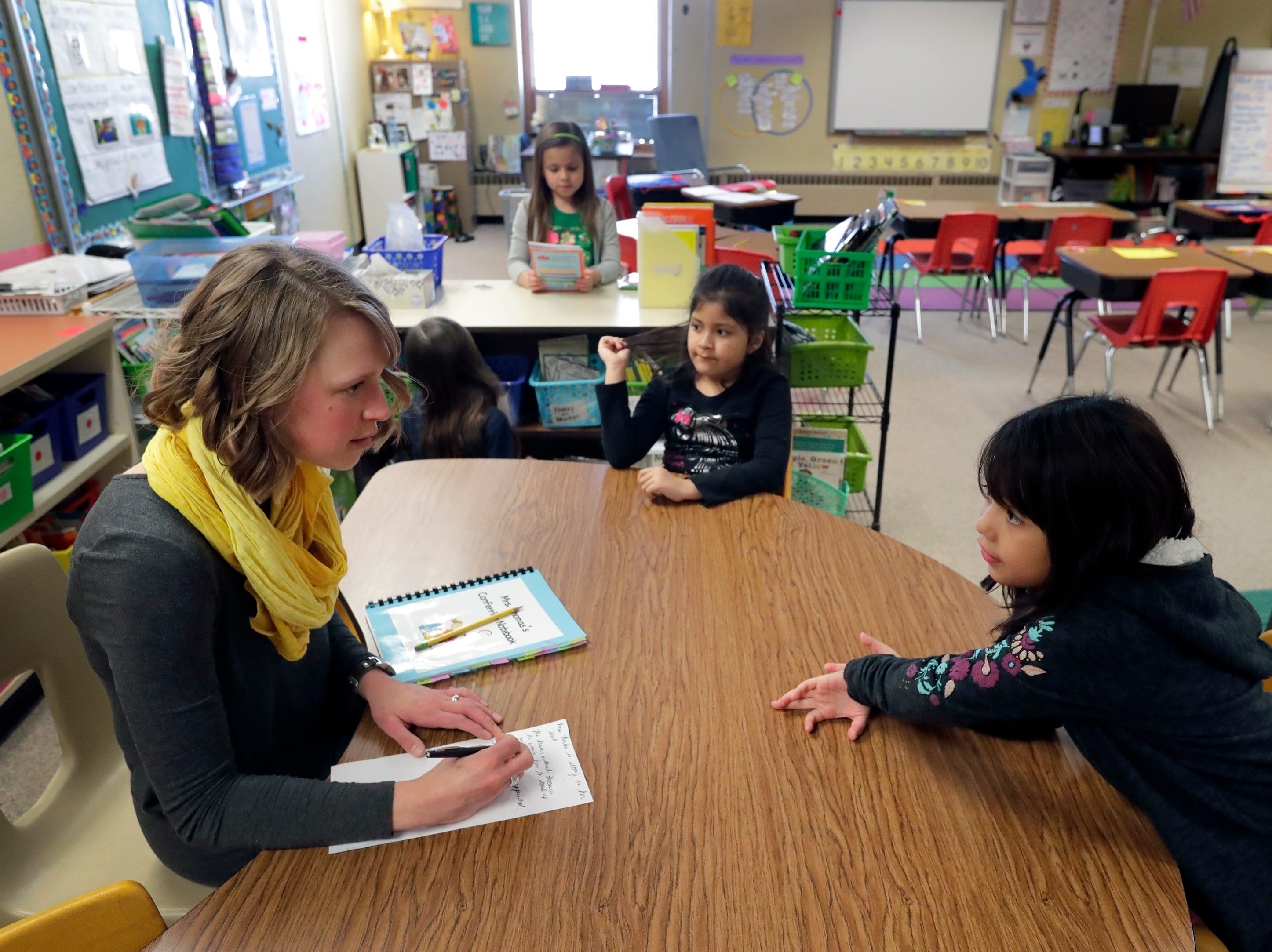 First grade teacher Emily Thomas, left, facilitates an oral language group with students Lizbeth Garcia Vera and Stephanie Lopez Rivera, right, Monday, March 4, 2019, at Horizons Elementary School in Appleton, Wis. Dan Powers/USA TODAY NETWORK-Wisconsin