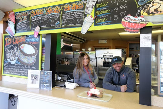 Katie Dinonno and Matt Cangialosi, owners of Jersey Freeze, talk about their business in Freehold, NJ Tuesday, March 12, 2019.
