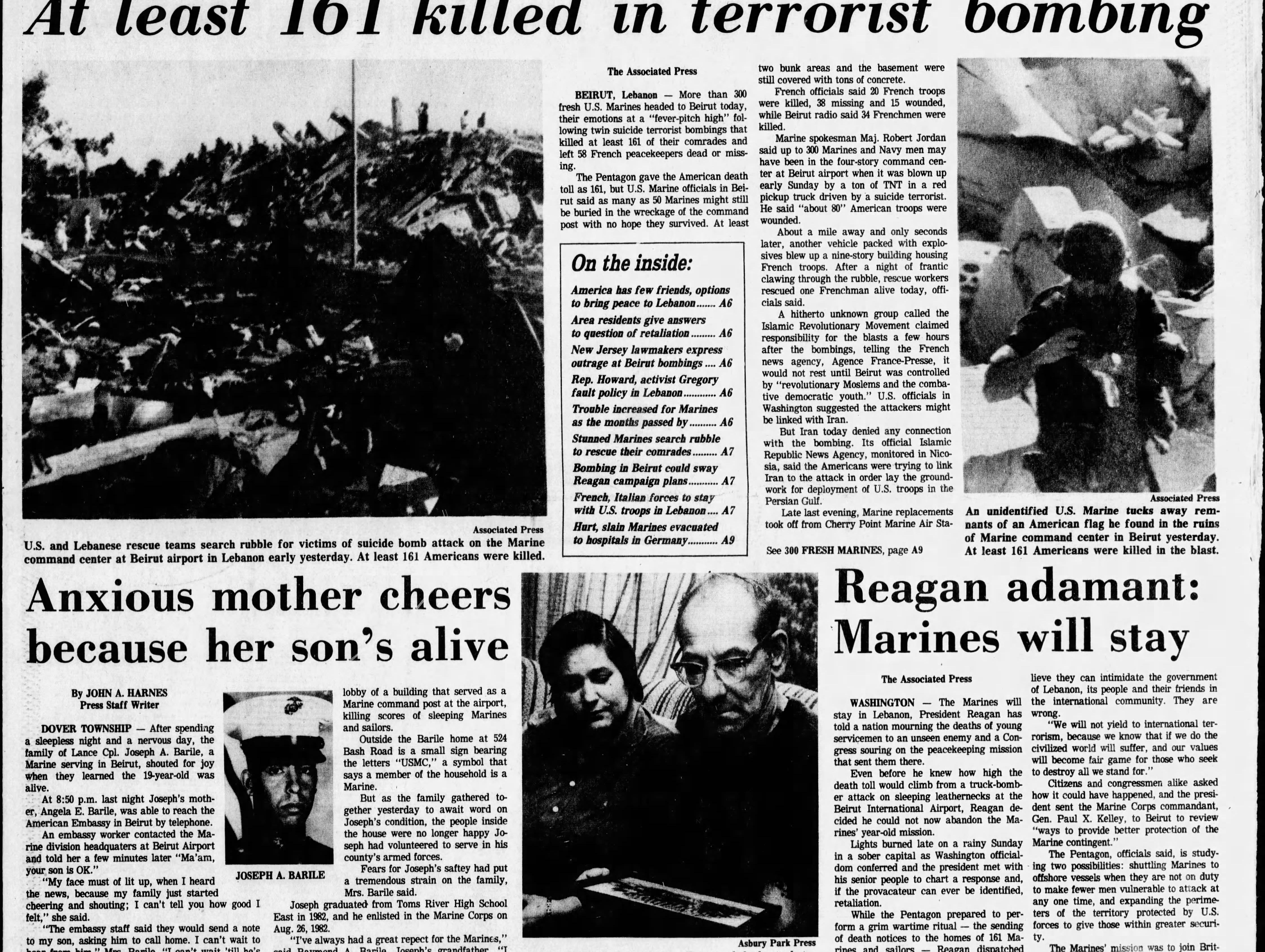 Front page coverage on Monday, Oct. 23, 1983 of the bombing of the U.S. Marine Corps barracks in Beirut that killed 220 Marines, 18 sailors and three soldiers.