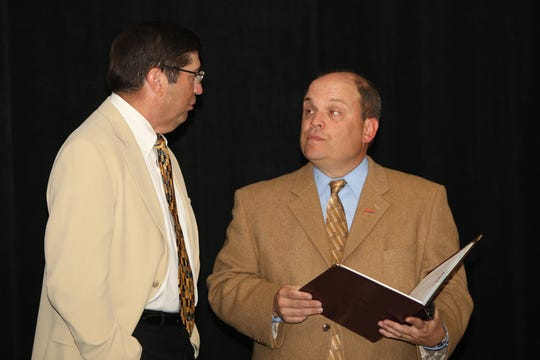 John Paquette (right) in an undated photo with former Big East commissioner Mike Tranghese