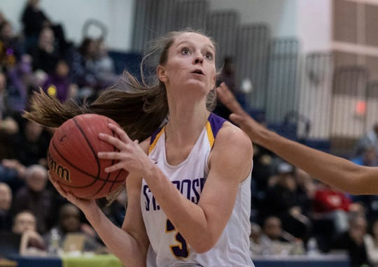 St. Rose's Lauren Lithgow in TOC  game. St Rose Girls Basketball vs University in Tournament of Champions opening round game in Toms River on March 12, 2019
