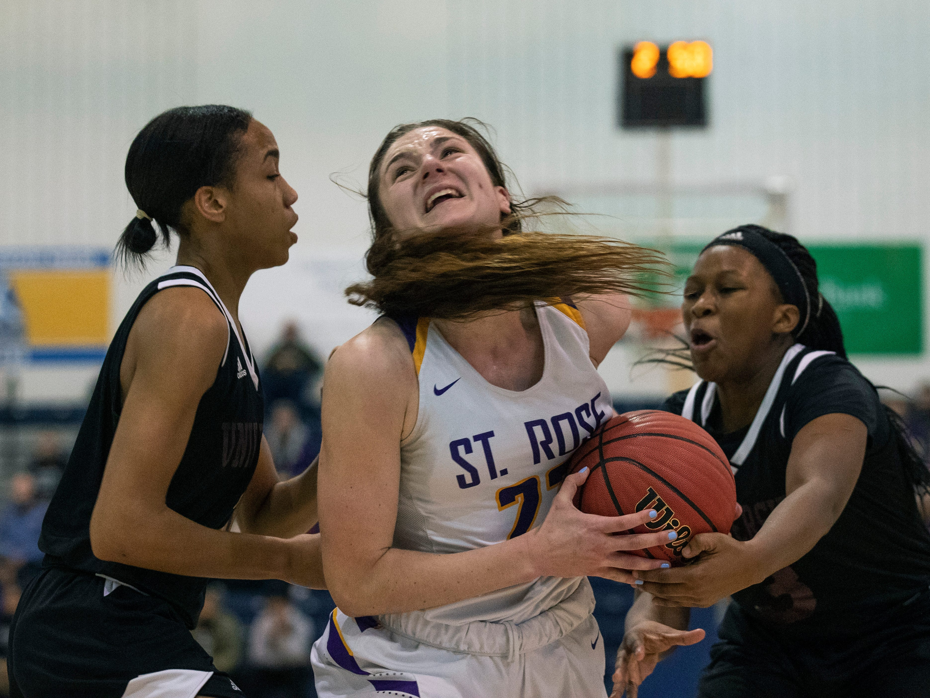 St Rose's Brynn Farrell during first half action. St Rose Girls Basketball vs University in Tournament of Champions opening round game in Toms River on March 12, 2019