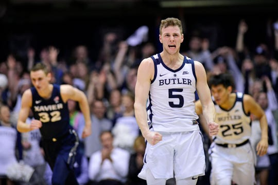 Butler Bulldogs guard Paul Jorgensen (5) reacts late in the second half against the Xavier Musketeers at Hinkle Fieldhouse.