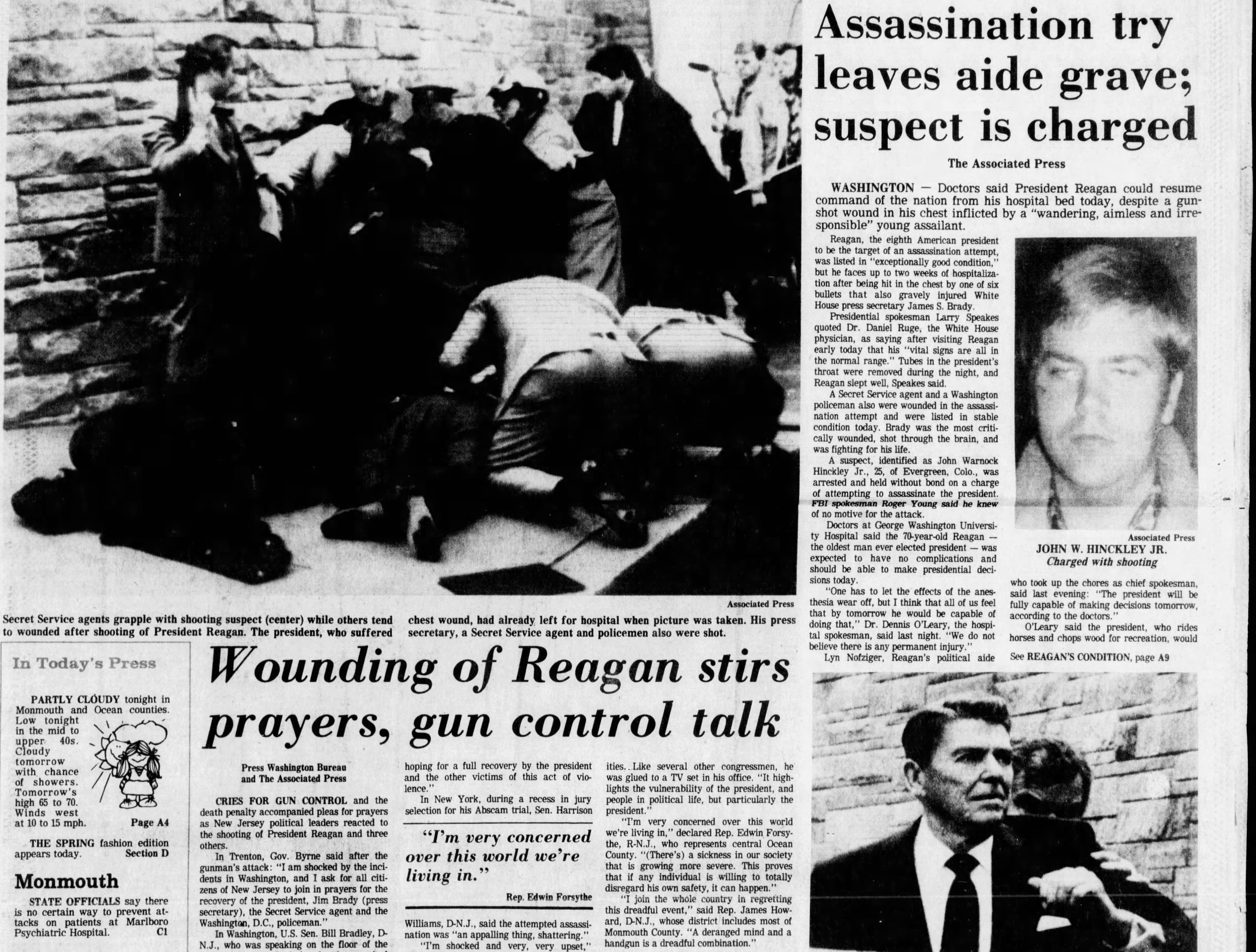 The nation narrowly avoids another presidential assassination when President Ronald Reagan survives but is seriously wounded by a lone gunman outside a Washington, D.C. hotel, 69 days after taking office, in this edition from Tuesday, March 31, 1981.