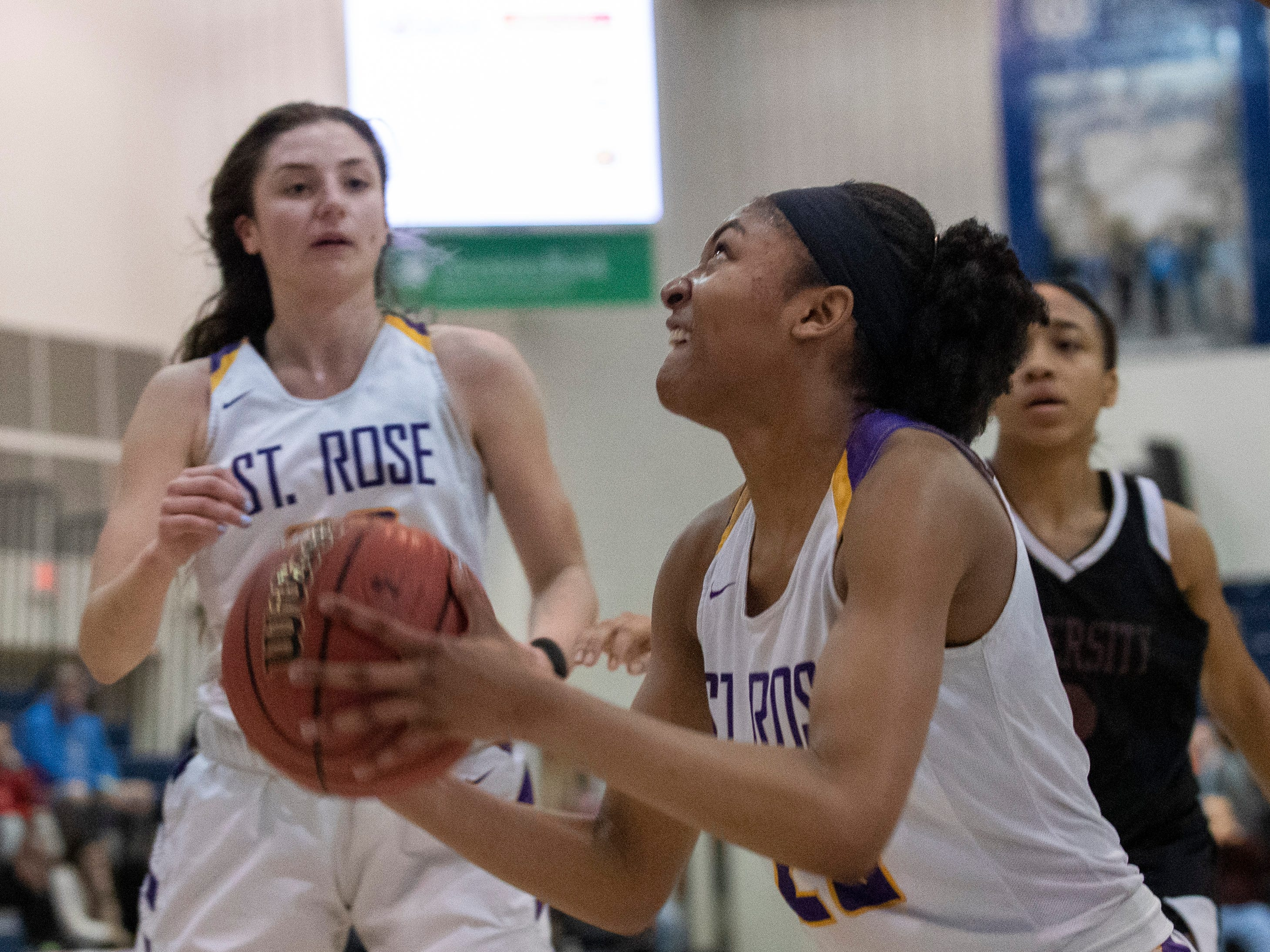 St. Rose's Makayla Andrews in first half action. St Rose Girls Basketball vs University in Tournament of Champions opening round game in Toms River on March 12, 2019