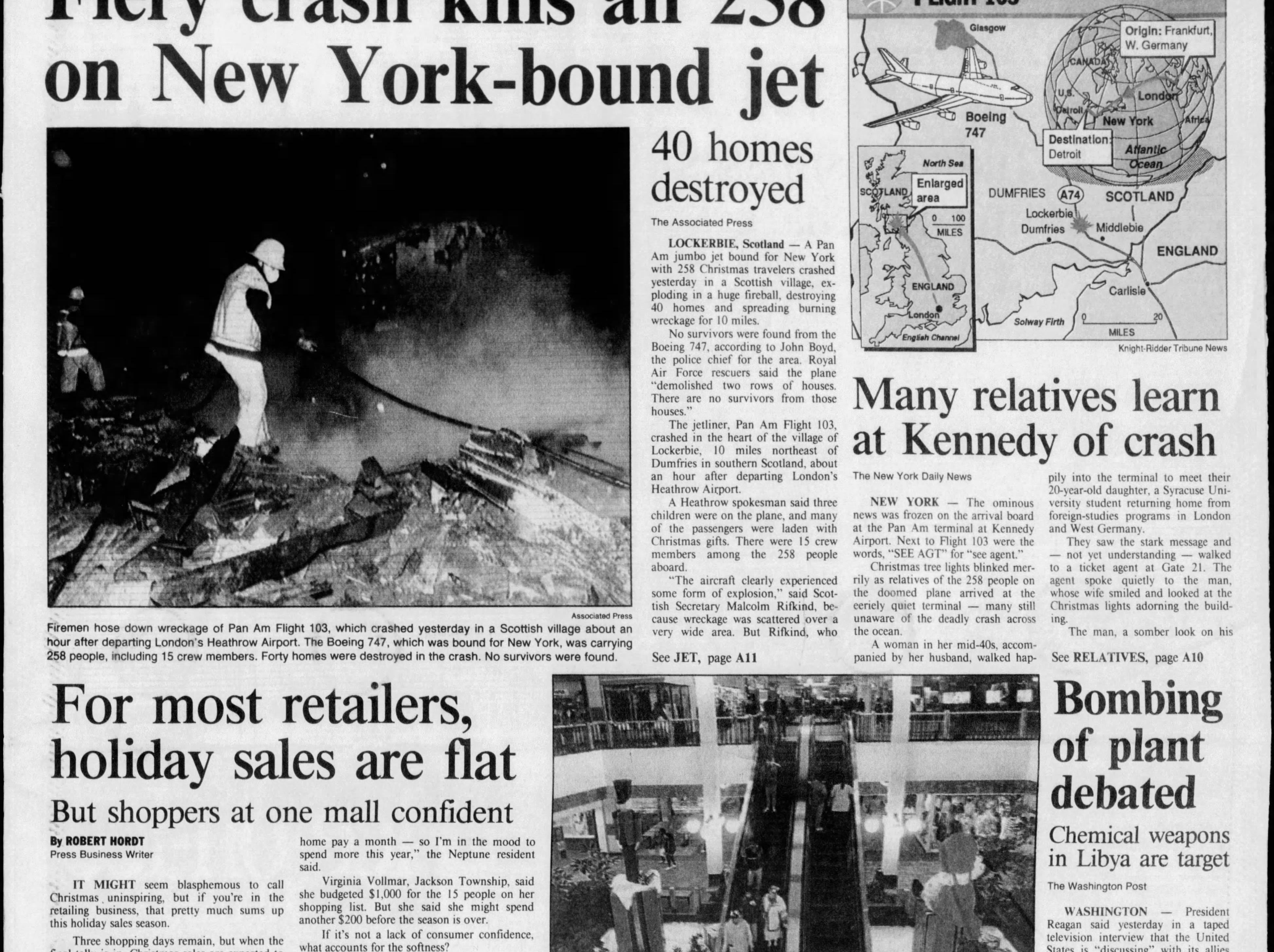 Pan Am Flight 103 is bombed out of the night sky 31,000 feet over Lockerbie, Scotland, killing what would later turn out to be 259 people aboard the Boeing 747 en route to New York from London, and 11 people on the ground in what was then the deadliest terrorist attack ever on American civilians. This edition the next day was published for Thursday, Dec. 22, 1988.