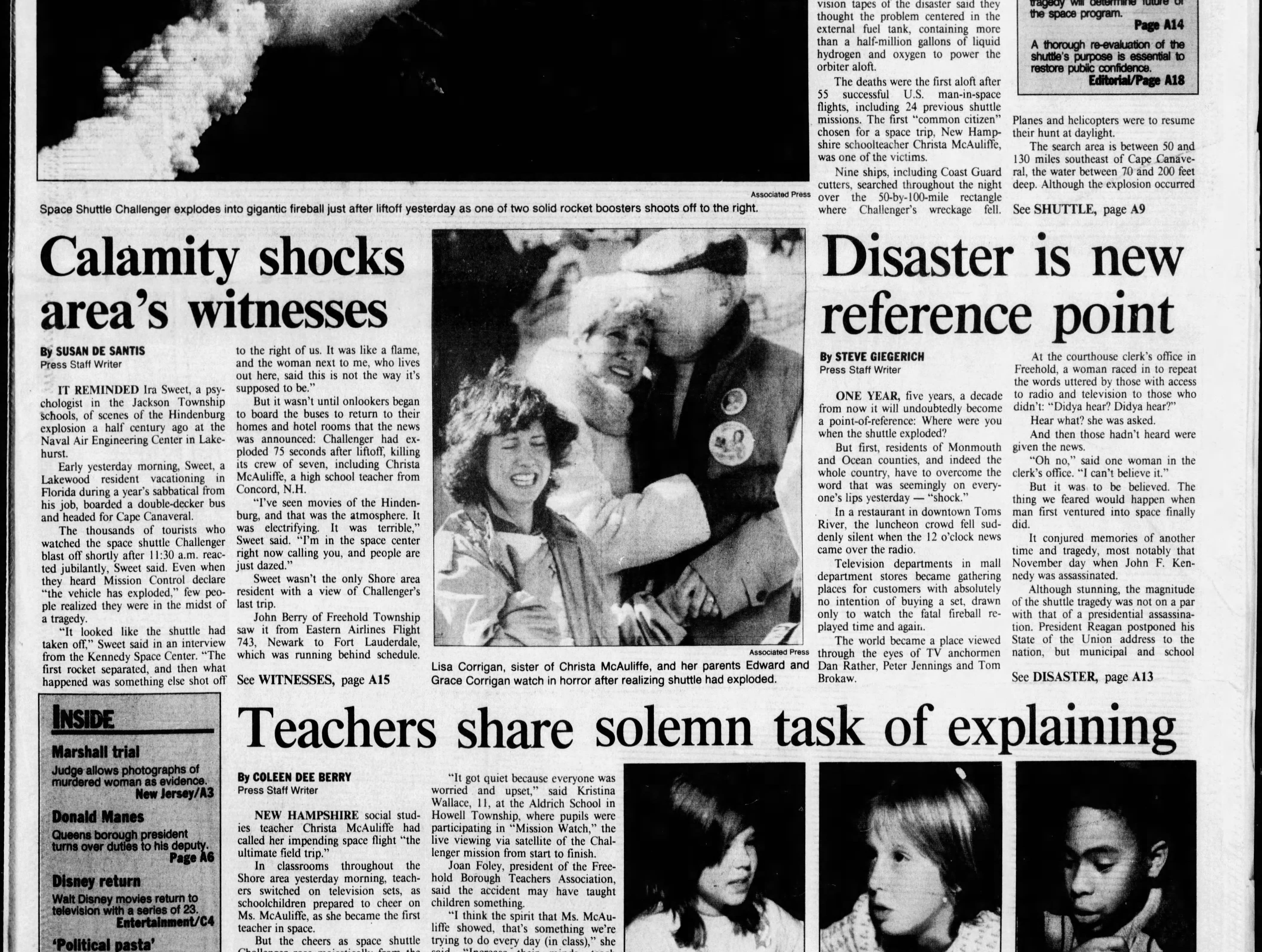 """The space shuttle Challenger is destroyed 73 seconds after liftoff, killing seven astronauts aboard, including the """"first teacher in space"""" Christa McAuliffe. The Asbury Park Press devoted the next day's front page to coverage of the disaster on Wednesday, Jan. 29, 1986."""