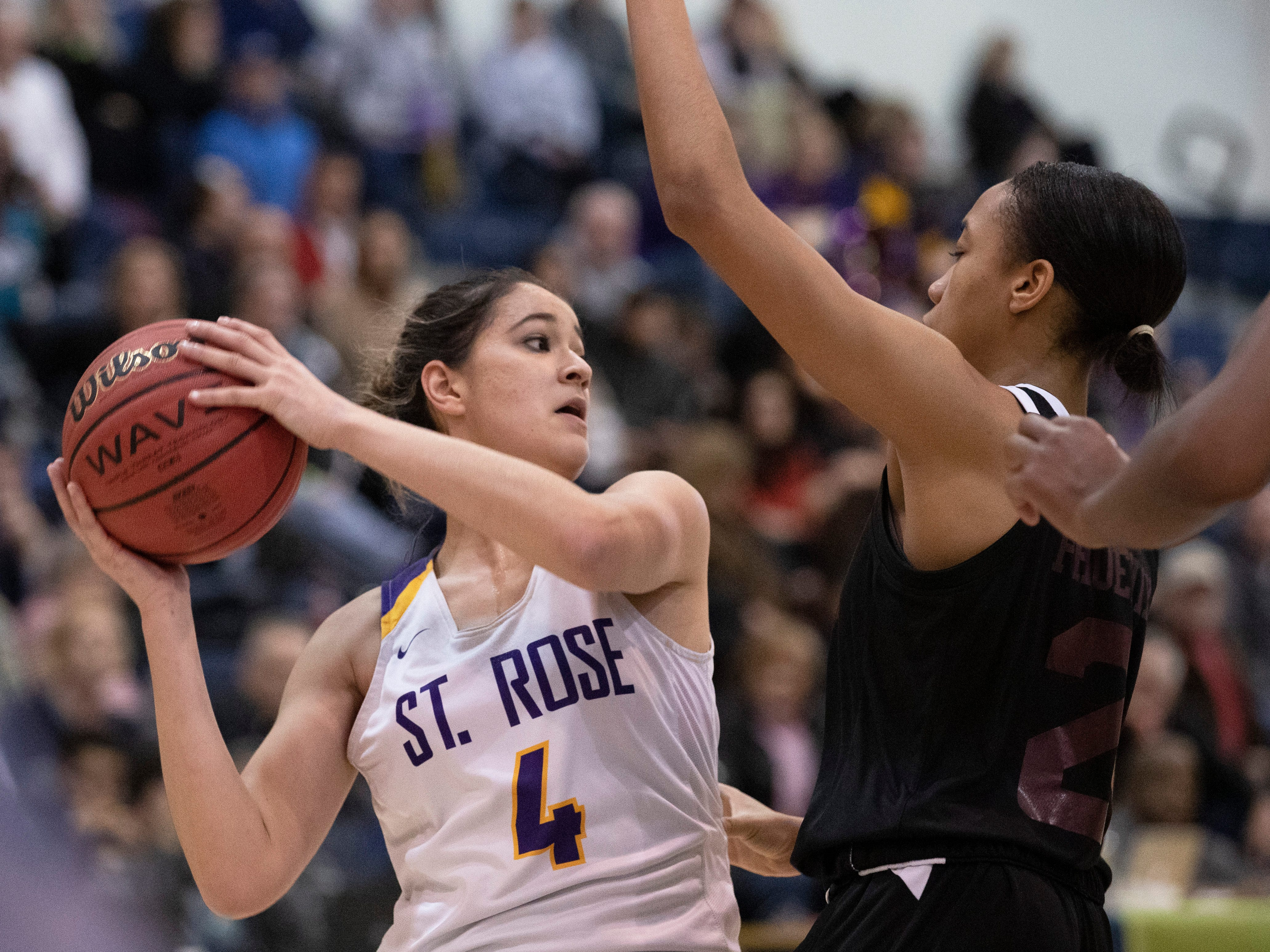 St. Rose's Samantha Mikos during first half action in TOC game. St Rose Girls Basketball vs University in Tournament of Champions opening round game in Toms River on March 12, 2019