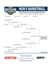 The 2019 Southland Conference Men's Basketball Tournament bracket.
